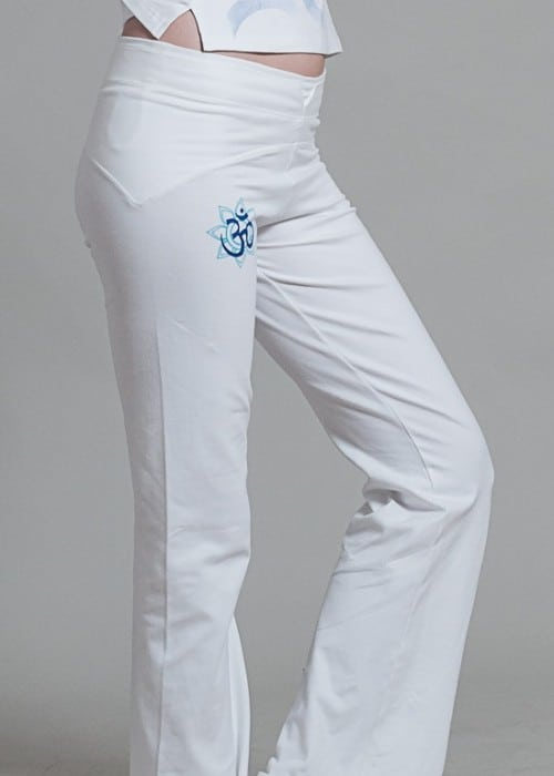 Om Shanti Yoga Pants For Women - White/Blue