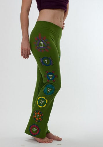 Chakras Yoga Pants Hand Painted Olive