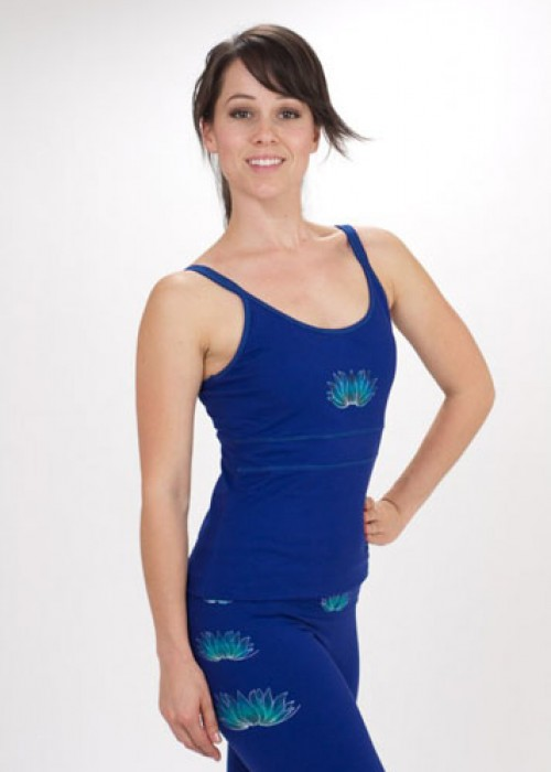 Lotus Hand Painted Yoga Top Camisole - Blue/Purple